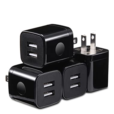X-EDITION USB Wall Charger, 4-Pack 2.1A Dual Port USB Cube Power Adapter Wall Charger Plug Charging Block Compatible with Phone Xs Max/Xs/XR/X/8/7/6S/6 Plus, Pad, Samsung, Android Phone (Black)