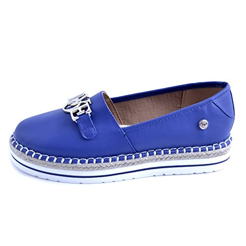 7838ee27f4a2 Image Unavailable. Image not available for. Color  Love Moschino Women s  Espadrilles In Bluette Leather With Steel Logo.