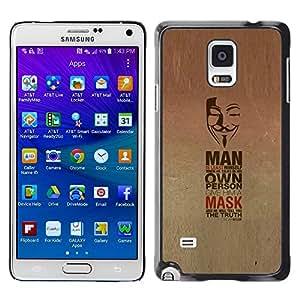 TopCaseStore / la caja del caucho duro de la cubierta de protección de la piel - Mask Anonymous Freedom Protest Revolution - Samsung Galaxy Note 4 SM-N910