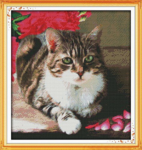 stamped cross stitch lovely cat