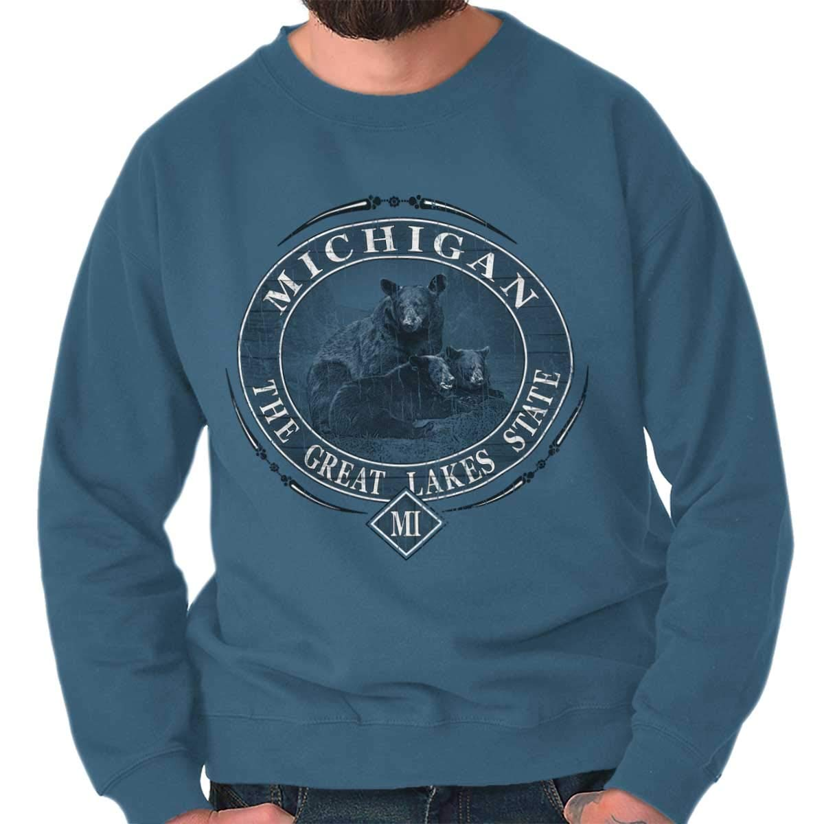 Michigan Great Lakes State Mountain Bear Mi Crewneck Shirts