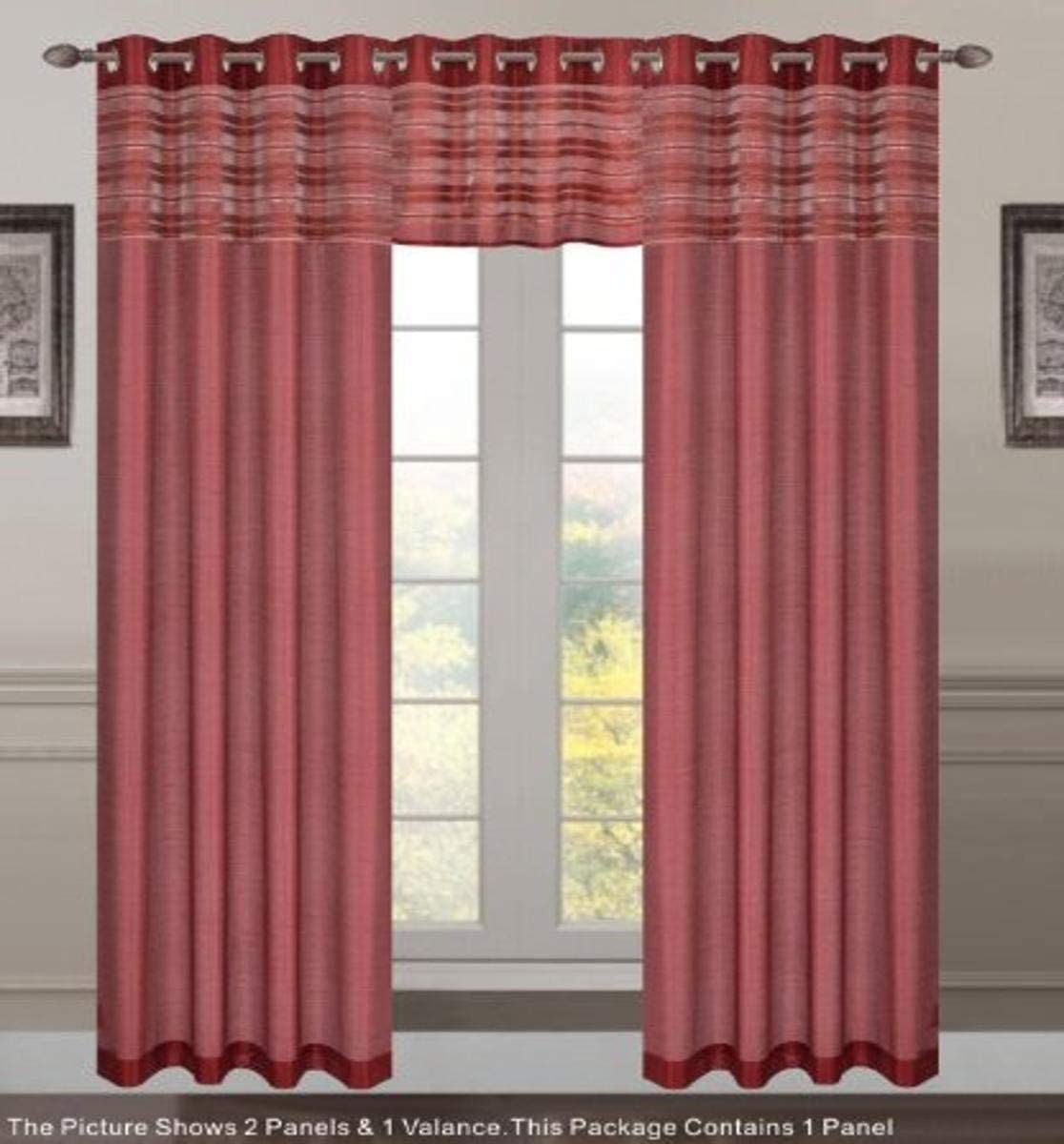 Dainty Home Barcelona Grommet Window Panel, 55 by 84-Inch, Dark Burgundy