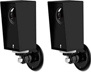 Wyze Cam Pan Silicone Protective Case with Wall Mount Bracket,Weather Proof Anti-Sun Glare and UV Protection Outdoor/Indoor Adjustable Bracket for Wyze Cam Pan 1080p Security Camera (2 Pack, Black)