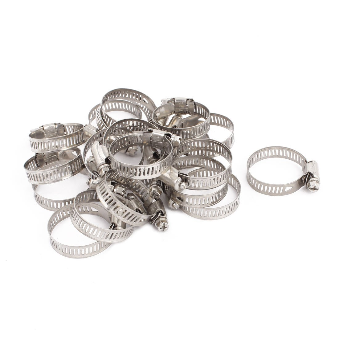uxcell 21mm-38mm Adjustable Range 10mm Width Stainless Steel Worm Gear Hose Clamp 20pcs