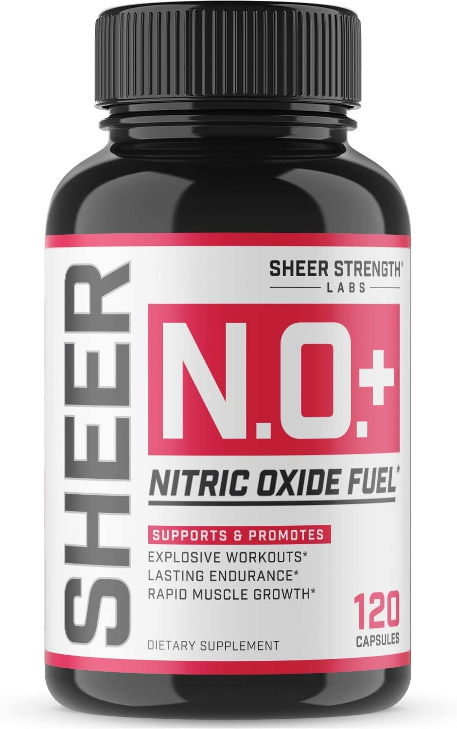 Sheer N.O. + Nitric Oxide Supplement - Premium Muscle Building Nitric Oxide Booster with L Arginine and L Citrulline - Pre Workout Supplement Supports Vascularity & Energy - Sheer Strength - 120ct: Health & Personal Care