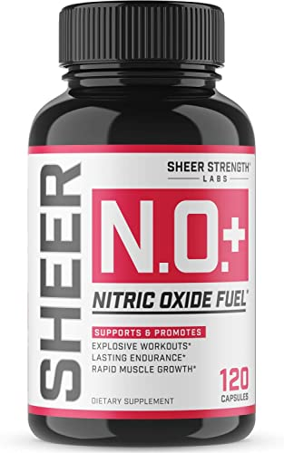 Sheer N.O. Nitric Oxide Supplement – Premium Muscle Building Nitric Oxide Booster with L Arginine and L Citrulline – Pre Workout Supplement Supports Vascularity Energy – Sheer Strength – 120ct