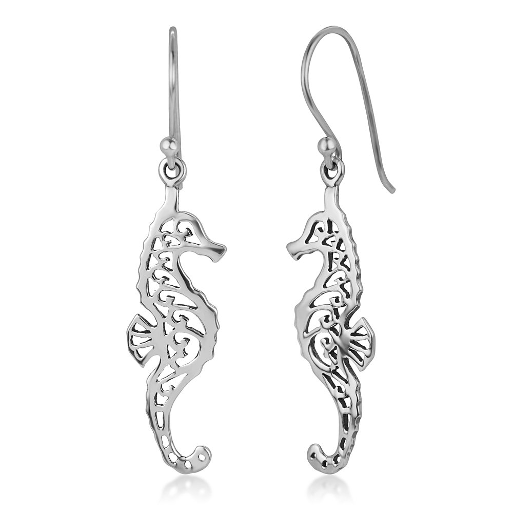 Amazon 925 Sterling Silver Open Filigree Seahorse Dangle Hook