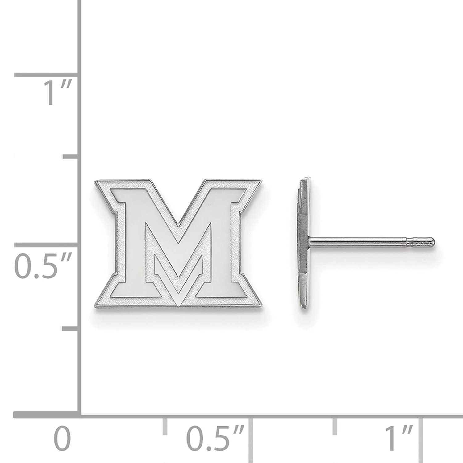 925 Sterling Silver Rhodium-plated Laser-cut Miami University XS Post Earrings