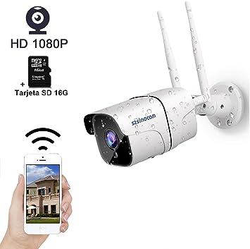 SZSINOCAM Cámara de Vigilancia Exterior WiFi,Cámara de Seguridad con Tarjeta SD 16G,Visión Nocturna,Empuje Alarma,Detección de Movimiento,Audio Bidireccional,Vista Remota Android/iOS/PC: Amazon.es: Bricolaje y herramientas