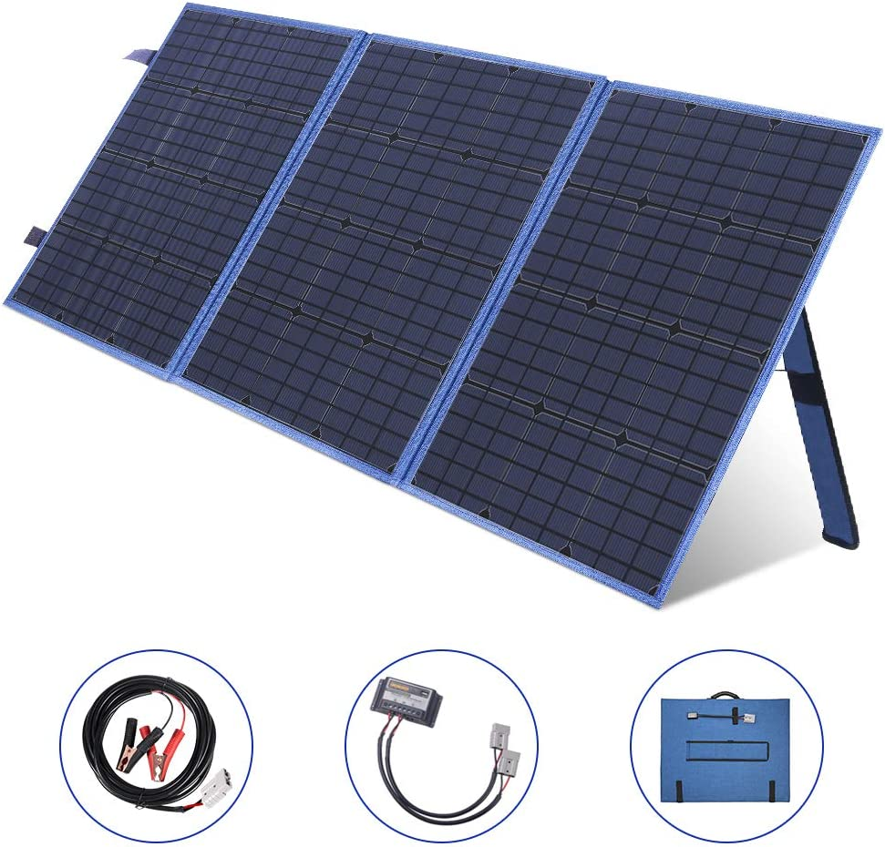 MEGSUN 150W Portable Solar Panel Kit, 12V Monocrystalline Solar Panel Charger with USB Device Solar Charge Controller for RV,Camping, Caravanning, Motorhome, Laptop, Boat Battery 12V System (Blue)