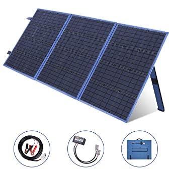 SARONIC Panel Solar Plegable Portátil de 150W y 12V con un Controlador de Carga Solar de 10A para Campistas, Caravanas, Reuniones de Autocaravanas, ...