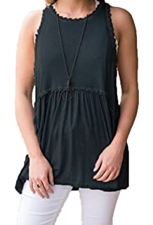 bf1ab5556ca Hount Womens Summer Sleeveless Casual Pleated Racerback Tank Tops with Lace  Trim