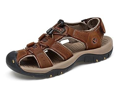 hellomiko Herren Sommer Breathable Sandalen Leder Closed-Toe Outdoor Trekking Schuhe Strand Sandalen