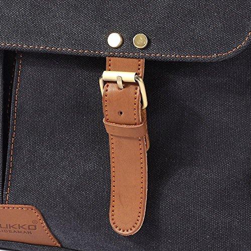 Vintage Men Messenger Bag, Kaukko Canvas Crossbody Shoulder Bags Laptop Briefcase Black by KAUKKO (Image #9)