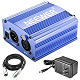 Neewer 1-Channel 48V Phantom Power Supply with Adapter and XLR Audio Cable for Any Condenser Microphone Music Recording Equipment (Blue)