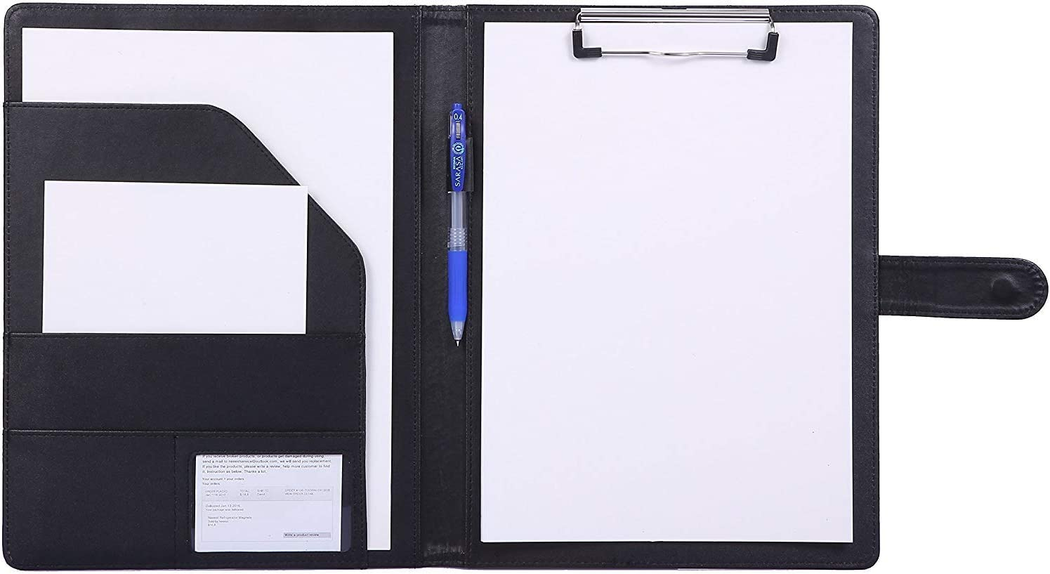 Padfolio Clipboard Folder Portfolio, Mymazn Faux Leather Storage Clipboard with Cover for Legal Pad Holder Letter Size A4 Writing Pad for Business School Office Conference Notepad Clip Boards (Black)