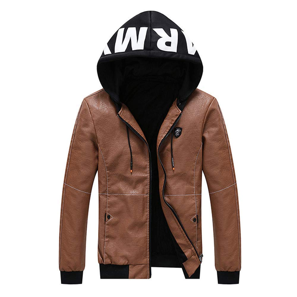 sadness n Mens Winter Long Sleeve Velvet Outwear Leather Jacket Leather Casual Hooded Coat Blouse