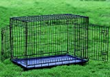 Everila Extra Large Extra Tall 48'' Two Door New Dog Crate Cage Kennel with Divider 35'' H Greyhound
