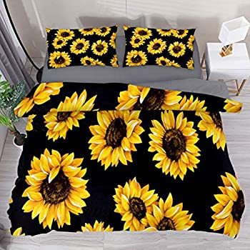 5 Pieces Comforter Farmhouse Watercolor Flower Green and White Sunflower Boho Floral Girl Toddler Kid Childrens Comforter Bedding Set Sweet Jojo Designs Yellow Sham and Sheets
