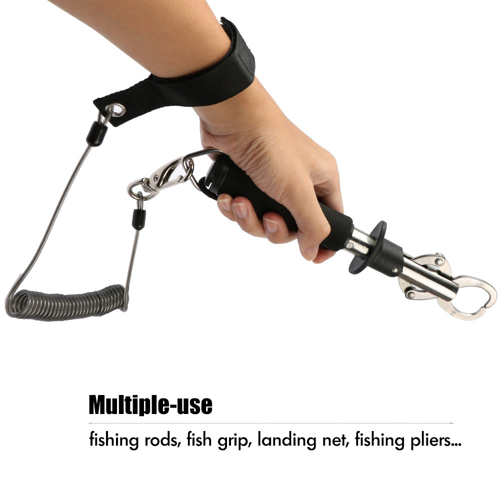 Amazon.com: Goture retráctil Pesca Lanyard Heavy Duty Coiled ...