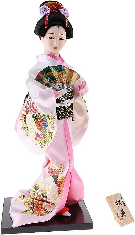 12inch Japanese Geisha Doll Kabuki Wearing Dark Red Kimono Gift Collectible