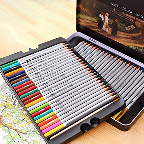 New 72 wooden colored pencils shading professional artist drawing set sketching (Walmart Pencil Sharpener)