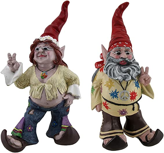 Peace and Makelove Gnotwar Pair of Hippie Garden Gnomes 15 Inch Statues Red Hat