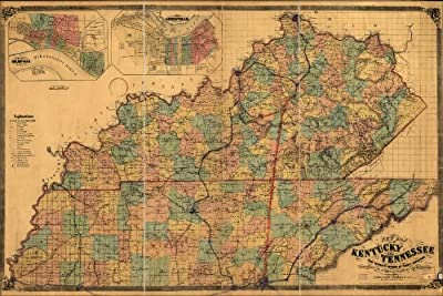 20x30 Poster; Map Of Kentucky And Tennessee 1861 P2