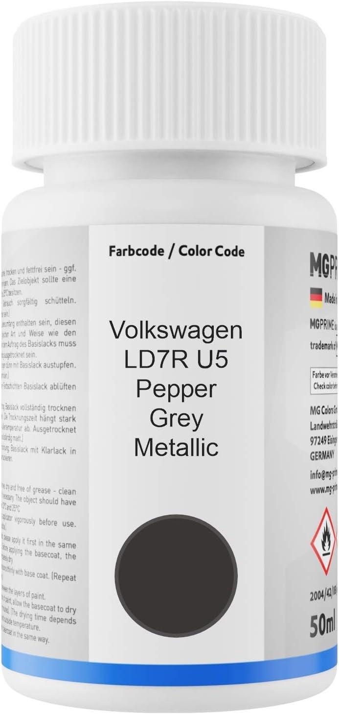 Mg Prime Autolack Lackstift Set Für Volkswagen Vw Ld7r U5 Pepper Grey Metallic Basislack Klarlack Je 50ml Auto