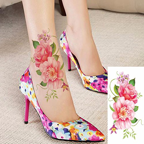 Kotbs 6 Sheets Floral Temporary Tattoo - Over 30+ Tattoos - Sexy Tattoo Sticker for Women & Girl Fake Tattoo (Chrysanthemum, Rose, Peony) by Kotbs (Image #5)