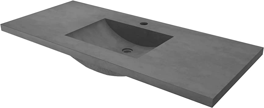 Palomar Vanity Top With Integral Bathroom Sink In Slate Finish Single Faucet Hole Amazon Com