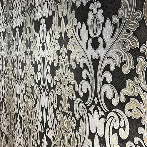 QUADRUPLE ROLL 113.52sq.ft (4 single rolls size) European Slavyanski wallcovering washable victorian pattern Vinyl Non-Woven Wallpaper Black silver gold gray textured stripe glitters metallic damask - Gray Stripe Wallpaper