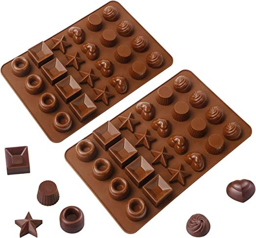 Webake 2 Pack Silicone Chocolate Molds 24 Cavity Hard Candy Mold Tray for Keto Fat Bomb and Jello
