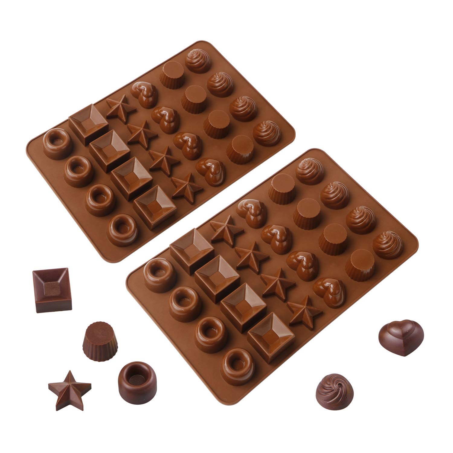 Webake Chocolate Molds 24 Cavity Jumbo Candy Mold,Flexible Silicone Molds for Keto Fat Bomb and Peanut Butter, Caramel Mold,Soap Mold -2 Pack((BPA Free, Dishwasher Safe,Non Stick)