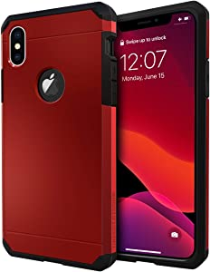 iPhone X Case/iPhone Xs Case, ImpactStrong Heavy Duty Dual Layer Protection Cover Heavy Duty Case for iPhone X/Xs 5.8 inch (2018) - Red