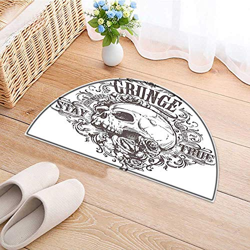 Hall Rose - Entrance Hall Carpet and Rose Art Vintage Floral Pattern Monochrome Tattoo Style Retro Theme Print Black Non Slip Rug W47 x H32 INCH