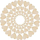 LAAT 100pcs Mini Wooden Heart Shape Craft Decoration Wedding Scatter Slices Wood Bland Embellishments Tags Love Shoot Props Supplies Heart-shaped Design Buttons without Hole for Home DIY Arts Crafts Card