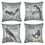 Vintage Spring Birds Throw Pillow Case Cushion Cover Easter Home Decorative Cotton Linen 18'' x 18'' Set of 4(Blessing, Faith, Family, Home)