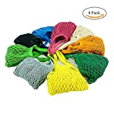 4 Pack Reusable Mesh Cotton Net Market String Bag Organizer (Multipurpose, Portable Shopping Tote Handbag), for Grocery Shopping & Outdoor Packing, Storage, Fruit, Vegetable (4 Mixed Colors)
