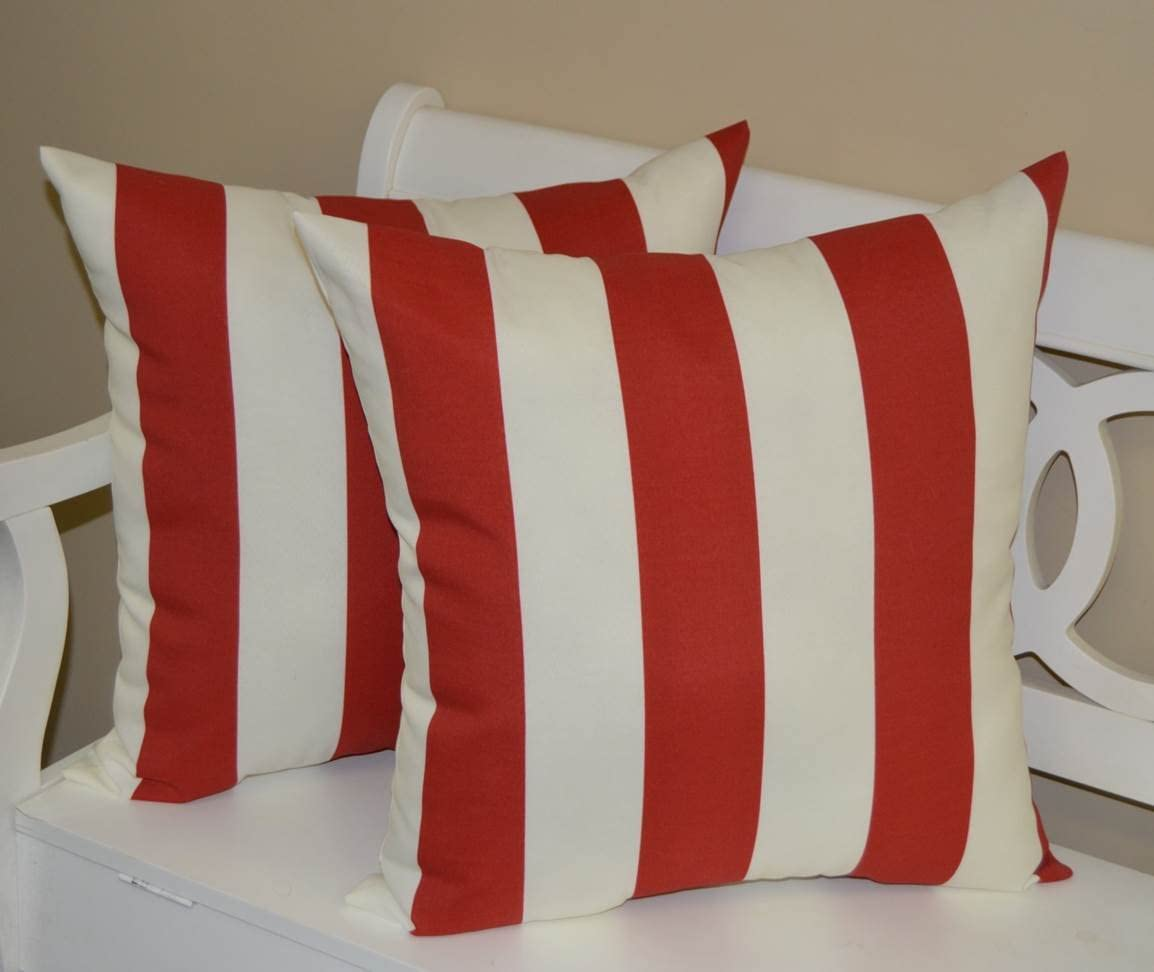 Resort Spa Home Decor Set of 2 – Indoor Outdoor 20 Square Decorative Throw Toss Pillows – Red and White Stripe
