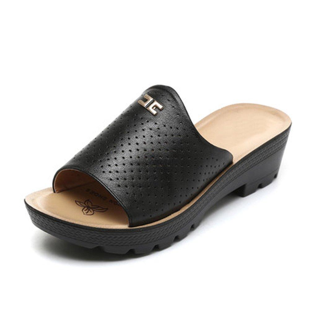 YUBIN Sandalias Zapatillas Femeninas Cuña Antideslizante Fondo Suave Parte Inferior Gruesa Zapatos De Cuero Frescos Suave Respirable Ocio Confortable (Color : A, Tamaño : 35) 35|A