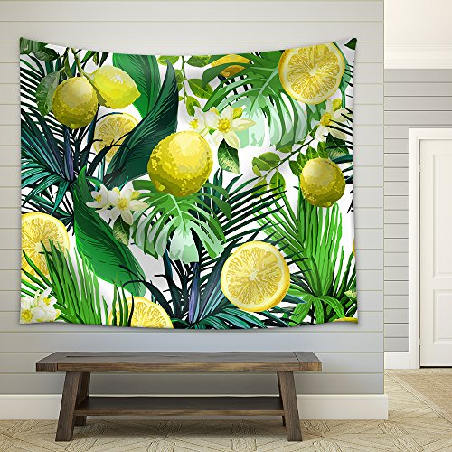 Vector Seamless Pattern of Lemon Flowers and Tropical Leaves on a White Background Fabric Wall Tapestry