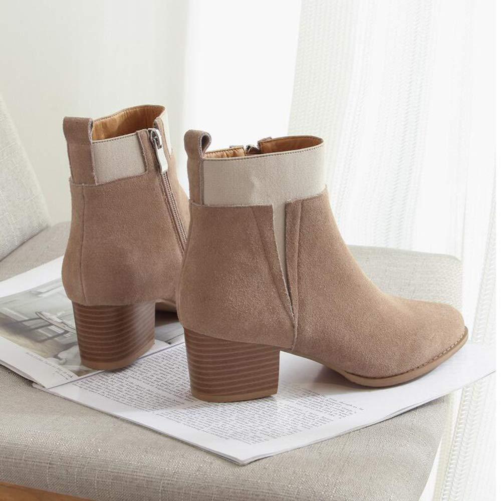 Xiaolin Frauen Western Round Toe Slip On On On Stiefelie - Niedriger Stack-Absatz - Reißverschluss - Lässige Stiefelette (Farbe   A größe   US5.5 EU36 UK3.5 CN35) abeb30