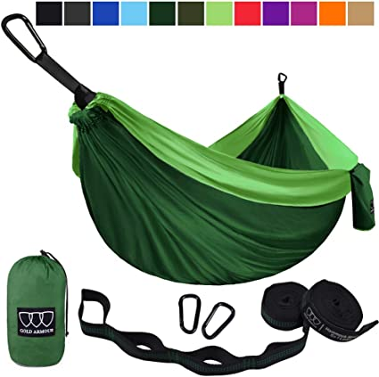 Parachute Camping Hammocks With Camping Equipment included and 2 Tree Straps Included FREE Element Outdoor Stuff Sack Large Hammock 2 Carabiners