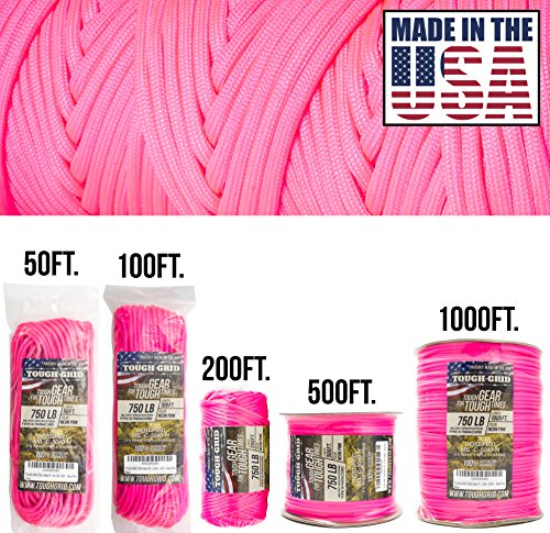TOUGH-GRID 750lb Neon Pink Paracord/Parachute Cord - Genuine Mil Spec Type IV 750lb Paracord Used by The US Military (MIl-C-5040-H) - 100% Nylon - Made in The USA. 200Ft. - Neon Pink (Dog Leash Braided Pink)