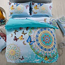 Alicemall Duvet Cover Set Boho Bedding Vivid Butterfly and Paisley Print 100% Cotton 4 Pieces Girls Bedding Bohemian Bed Cover Bed Sheets Set, Full Size (Full, Blue)