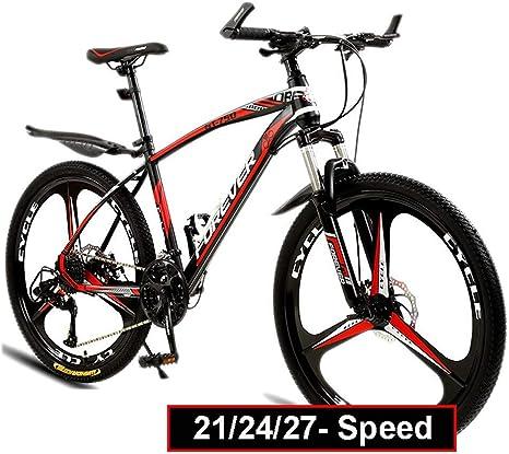 LXDDP Bicicleta montaña, 26 pulg. 21/27/27 Velocidad Freno Disco Bicicleta 3 Cambios Bicicleta MTB suspensión Completa para Adolescentes Adultos, Cuadro Acero Alto Carbono Engrosado y Horquilla: Amazon.es: Deportes y aire libre