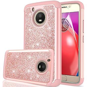 motorola e4 phone case. moto e4 case (usa version) with hd screen protector,leyi glitter bling girls motorola phone