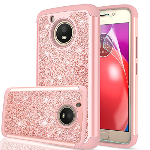 Moto E4 Case (USA Version) (Not Fit Moto E4 Plus) with HD Screen Protector,LeYi Glitter Bling Girls Women Heavy Duty Shockproof Protective Phone Case for Motorola Moto E (4th Generation) TP Rose Gold (Girls Phone For Motorola Cases)