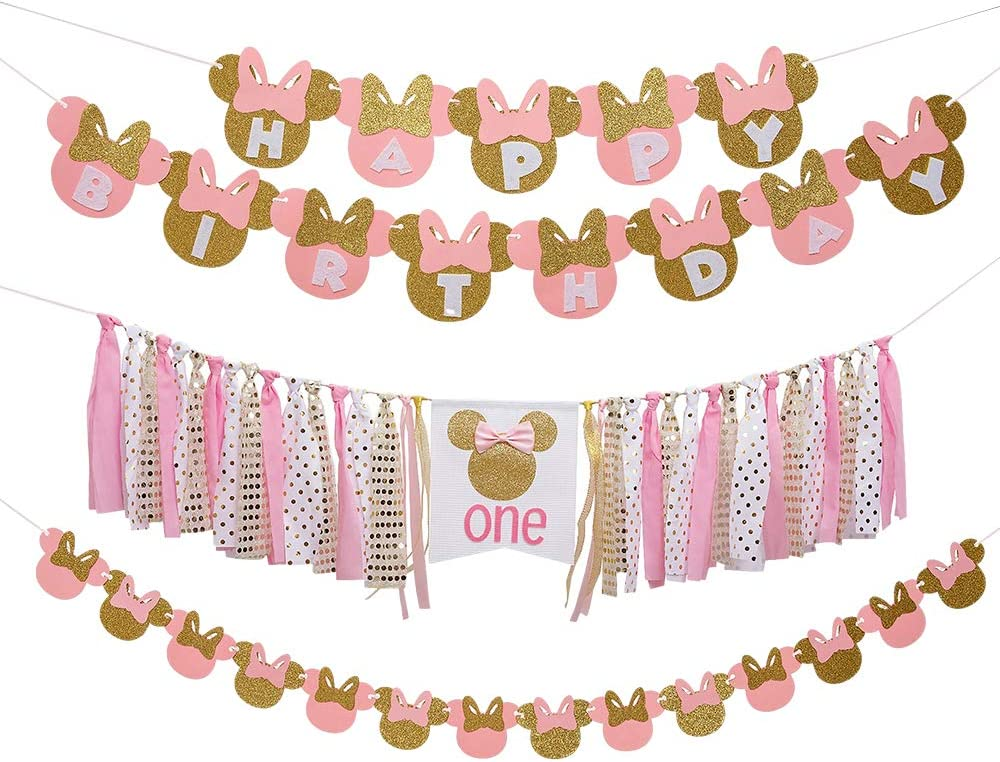 Pink and gold Minnie Themed Party Decor Supplies Minnie Mouse Kids First Birthday Decor Kit Minnie Bow 1st One Year Birthday Banner High Chair Banner Minnie Happy Birthday Banner Minnie Paper Garland Minnie Mouse Banner